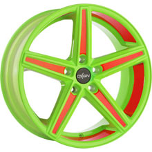 Oxigin 18 Concave Neon Green Orange Folienveredelung